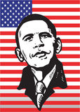 Barak Obama on flag. Illustration of Barack Obama against an American flag Stock Photo