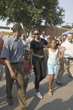 Barak Obama Frau Michelle Obama und Tochter Lizenzfreie Stockfotos