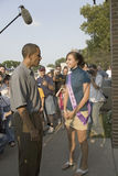 Barak Obama meeting Miss Iowa State Fair. U.S. Senator Barak Obama meeting Miss Iowa State Fair while campaigning for President at Iowa State Fair in Des Moines Stock Photo