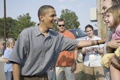 Barak Obama som delta i en kampanj för president Arkivbild