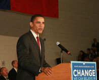 Barak Obama Speaks. At townhall meeting in Texas during his campaign ofr President 2008 royalty free stock photos