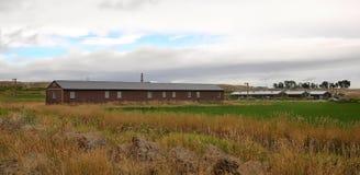 Barakken worden gebruikt om Japanse Amerikanen bij Hartberg, Wyoming te houden dat stock afbeeldingen