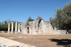 Baram古老犹太教堂,以色列 库存照片