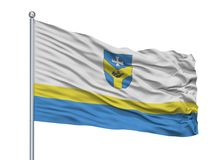 Baran City Flag On Flagpole, Bielorussia, isolata su fondo bianco Royalty Illustrazione gratis