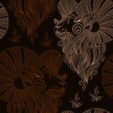 Baran głowa wektor bezszwowy wzoru Mehendi styl Fotografia Royalty Free