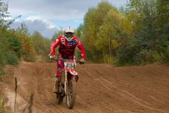 Barancheev Andrey 494. SERPUKHOV, RUSSIA - OCTOBER 7, 2017: Barancheev Andrey 494,  Class MX - absolute cross-country, in the 4 stage  MX series, the Red Wings Royalty Free Stock Images