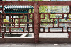 Barandilla china del templo Imagenes de archivo