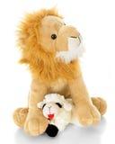 Baranek Kłaść puszek z lwem obraz royalty free