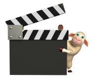 Barani postać z kreskówki z clapboard Obrazy Royalty Free