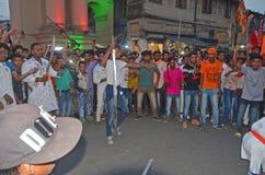 Baranu Navami wiec z rękami Przy Burdwan miasteczkiem, India zdjęcie stock