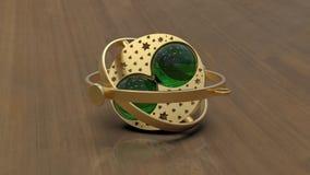 Baratija de oro y esmeralda, representación 3d stock de ilustración