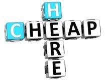 barato aqui texto das palavras cruzadas 3D Fotografia de Stock Royalty Free