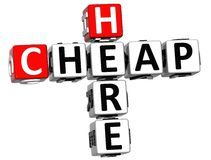 barato aqui texto das palavras cruzadas 3D Foto de Stock Royalty Free