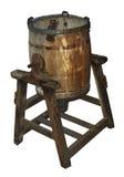 Baratte de beurre en bois antique photographie stock
