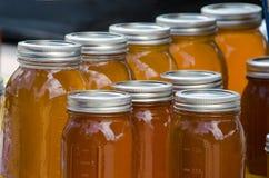 Barattoli ambrati di miele fotografia stock