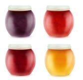 Barattoli aperti multicolori con l'inceppamento della frutta Fotografia Stock Libera da Diritti