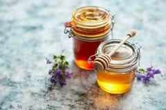 Barattoli con differenti generi di miele organico fresco fotografia stock libera da diritti