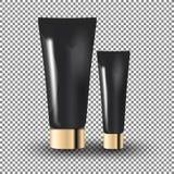 Barattoli crema neri affascinanti dell'occhio e facciali sui precedenti trasparenti Illustrazione realistica di vettore del model Immagine Stock Libera da Diritti