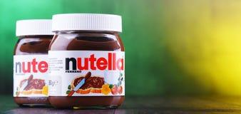 Barattoli della diffusione di Nutella fotografia stock libera da diritti