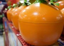 Barattoli di biscotto a forma di arancio Fotografia Stock