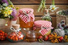 Barattoli di miele, bottiglie delle erbe sane e delle erbe curative Immagine Stock