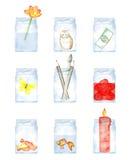 Barattoli di vetro acquerelli dipinti a mano ed i suoi contenuti illustrazione vettoriale