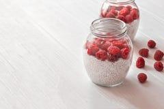 Barattoli di vetro di budino dai semi di chia con latte di cocco e la raspa Immagine Stock Libera da Diritti
