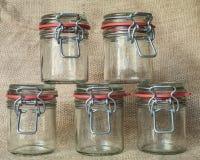 Barattoli di vetro vuoti Fotografia Stock