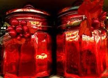 Barattoli rossi di Natale Immagine Stock