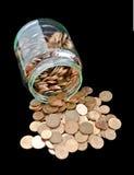 Barattolo con le monete del Euro-centesimo Fotografia Stock