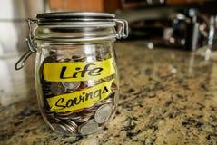 Barattolo dei soldi delle salvavite Immagine Stock