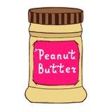 Barattolo del burro di arachidi Illustrazione di schizzo con le lettere disegnate a mano Immagini Stock Libere da Diritti