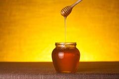 Barattolo del miele con il merlo acquaiolo ed il miele scorrente immagine stock