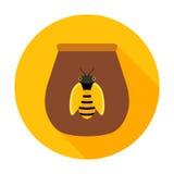 Barattolo del miele con l'icona del cerchio dell'ape Fotografia Stock