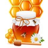 Barattolo del miele con la stampa del pettine e del merlo acquaiolo illustrazione vettoriale