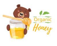Barattolo del miele ed orso del carattere illustrazione vettoriale