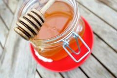 Barattolo del miele sul piatto rosso Immagine Stock Libera da Diritti