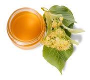 Barattolo del miele del tiglio e del tiglio di fioritura su bianco Immagini Stock