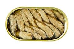 Barattolo di latta aperto con i pesci conservati dello spratto Immagini Stock Libere da Diritti