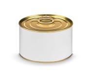 Barattolo di latta chiuso dell'alimento o del pesce con l'etichetta bianca in bianco isolata Fotografia Stock