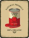 Barattolo di latta con la minestra del pomodoro dell'etichetta Fotografia Stock