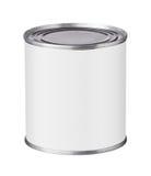 Barattolo di latta con un'etichetta in bianco Fotografie Stock