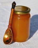 Barattolo di miele con il cucchiaio di legno Immagine Stock