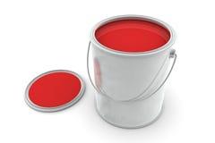 Barattolo di pittura rossa Fotografia Stock Libera da Diritti