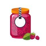 Barattolo di vetro del lampone dell'inceppamento dolce di rosa riempito di Berry With Template Label Illustration Fotografia Stock Libera da Diritti