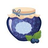 Barattolo di vetro dell'inceppamento blu dolce del mirtillo riempito di Berry With Template Label Illustration Fotografia Stock Libera da Diritti