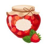 Barattolo di vetro dell'inceppamento rosso dolce della fragola riempito di Berry With Template Label Illustration Fotografia Stock