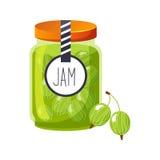 Barattolo di vetro dell'uva spina dell'inceppamento dolce di verde riempito di Berry With Template Label Illustration Fotografia Stock Libera da Diritti