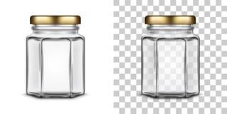 Barattolo di vetro esagonale vuoto di vettore per miele Illustrazione realistica royalty illustrazione gratis
