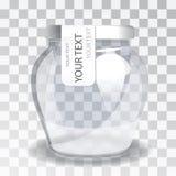 Barattolo di vetro vuoto con un'etichetta su un fondo trasparente La nuova progettazione di imballaggio Fotografia Stock Libera da Diritti